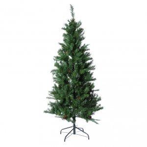 Albero di Natale verde 150 cm con pigne slim memory shape Norimberga s1
