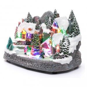 Aldea navideña iluminado musical movimiento árbol navidad 19x31x20 cm s2