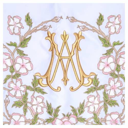 Altar Cloth 165x300cm pink flowers and Marian symbol s2