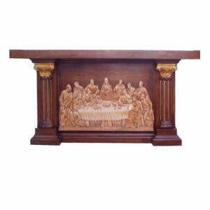 Ambones, reclinatorios, mobiliario religioso: Altar de madera entallada a mano con imagen de la Última Cena