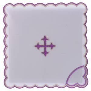 Altar linens: Altar linen baroque cross purple embroidery, cotton