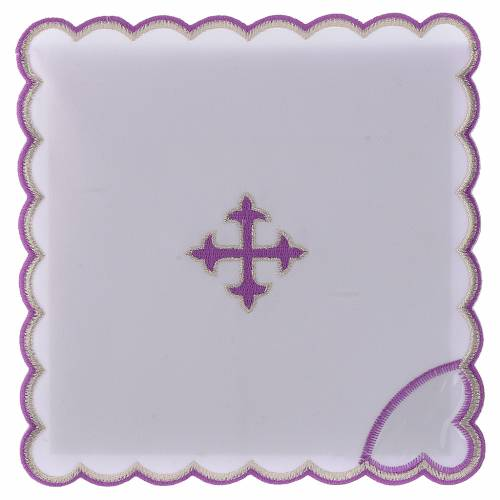 Altar linen baroque cross purple embroidery, cotton s1