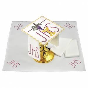 Altar linens: Altar linen chalice vine leaves spiked JHS symbol, cotton