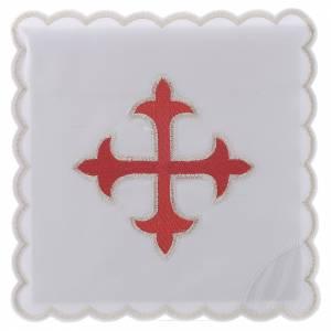 Altar linens: Altar linen gold red baroque Cross, cotton