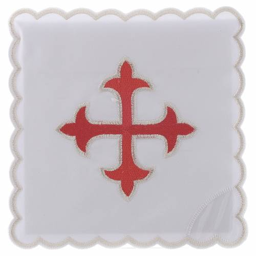 Altar linen gold red baroque Cross, cotton s1