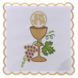 Altar linens: Altar linen grapes golden borders chalice host and JHS, cotton