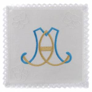 Altar linens: Altar linen Holy Mary initials light blue and gold