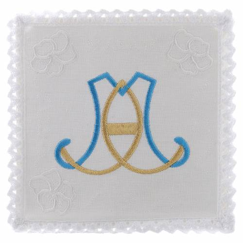 Altar linen Holy Mary initials light blue and gold s1