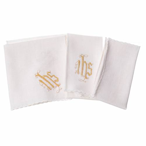 Altar linens set, 100% linen, IHS and decorations s2