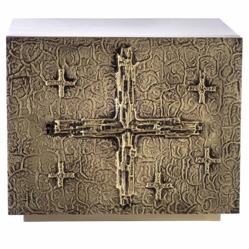 Altar Tabernacle with cross relief in gold plated brass, Molina s1
