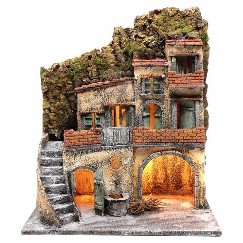Ambientazione per scena presepe Napoli con luce e fontana 55x45x30 cm s1