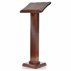Atriles con columna: Ambón pequeño de madera de nogal color nogal glaseado