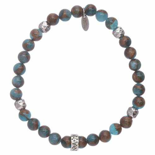 AMEN 925 sterling silver blue agate bracelet with bronzite veining s2