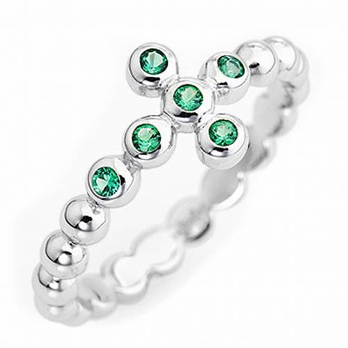 AMEN Beads Ring White silver 925, green zircons s1
