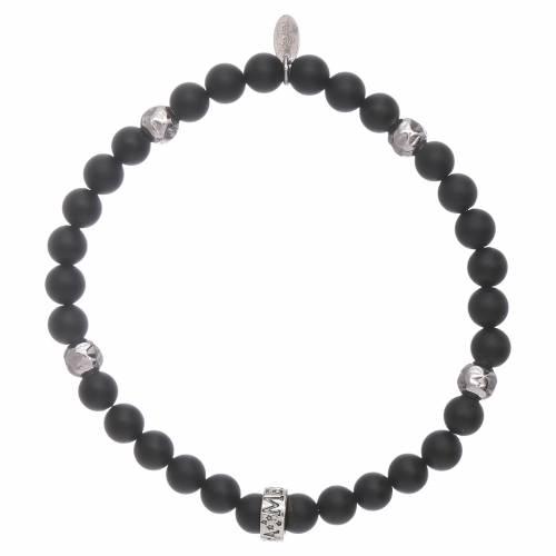 AMEN black onyx 925 sterling silver bracelet with insert s1