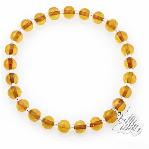 Amen bracelet in amber Murano beads 6mm, sterling silver s1