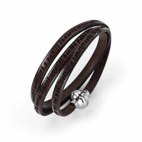 Amen Bracelet in brown leather Our Father ITA s1