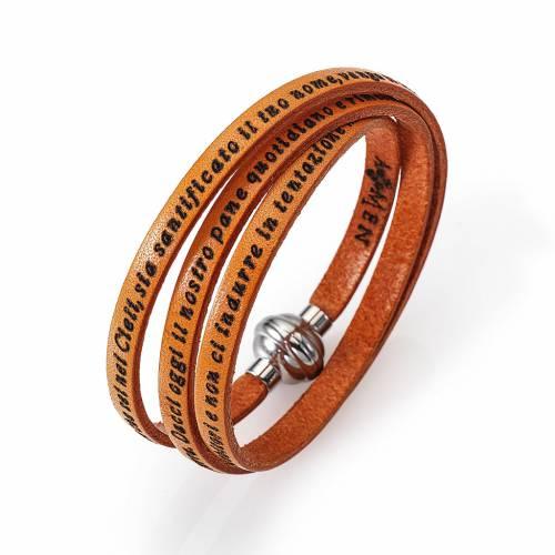 Amen Bracelet in orange leather Our Father ITA s1