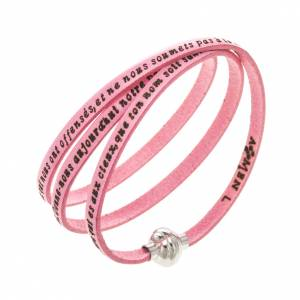 Amen Bracelet in pink leather Our Father FRA s1