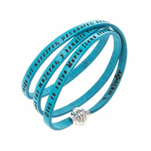 Amen Bracelet in turquoise leather Hail Mary SPA s1