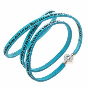 Amen Bracelet in turquoise leather Our Father GER s1
