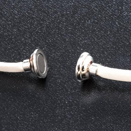 Amen Bracelet in white leather Guardian Angel ENG s2