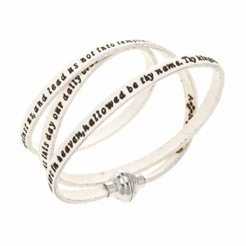 Amen Bracelet in white leather Our Father ENG s1