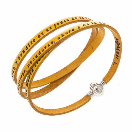 Amen Bracelet in yellow leather Hail Mary SPA s1