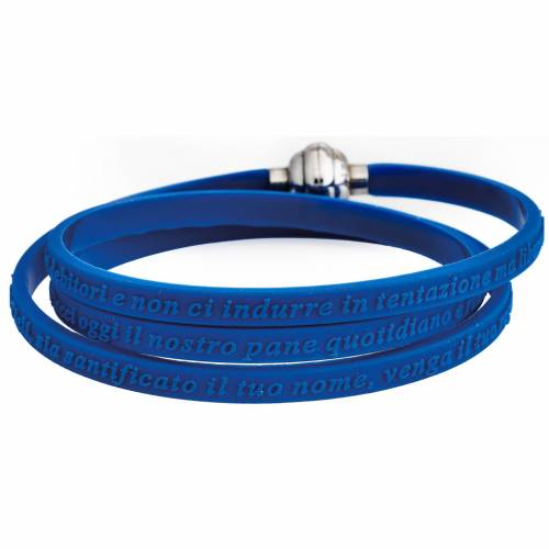 Amen bracelet, Our Father in Italian, blue rubber s1