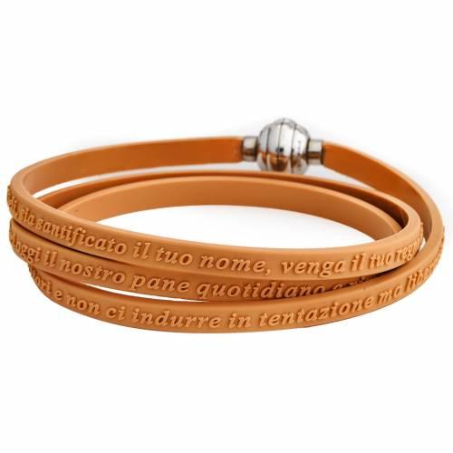 Amen bracelet, Our Father in Italian, orange rubber s1