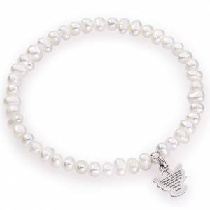 Amen bracelet with round pearls and sterling silver, 4/5mm s1