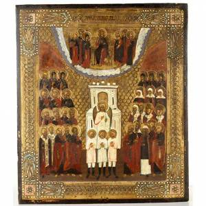 Ancient Russian Icon- Angels and Saints in Glory s1
