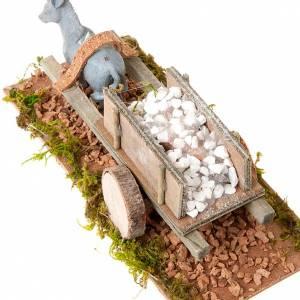 Animaux pour la crèche: Âne avec chariot  chargé de pierres blanches 8 cm