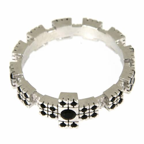 Anello argento 925 rodiato con zirconi neri 5
