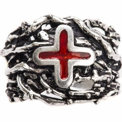 Anello episcopale argento 800 croce smalto s5