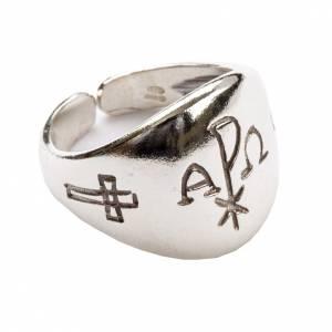 Articoli vescovili: Anello vescovile alfa omega XP argento 800