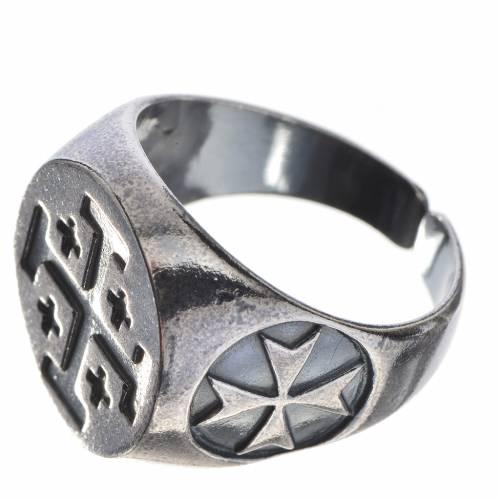 Anello vescovile argento 800 brunito croce Jerusalem s2