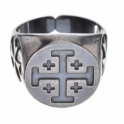 Anello vescovile argento 800 brunito croce Jerusalem s1