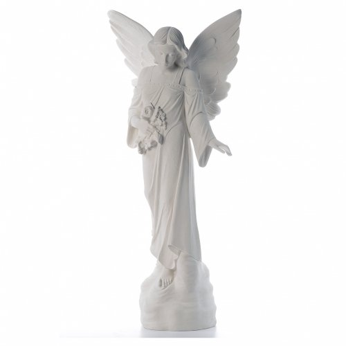 Angel with flowers in reconstituted marble, 100 cm s1