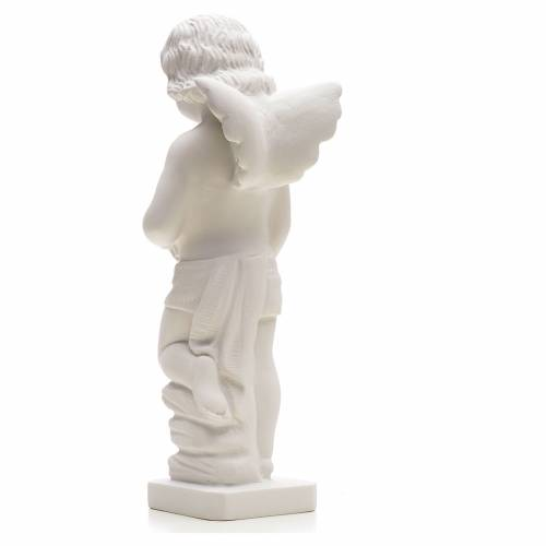 Angel with flowers in reconstituted white marble 25-30 cm s2