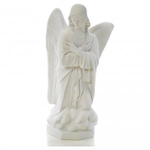 Angel with hands on heart, right, in white Carrara marble 45cm s1