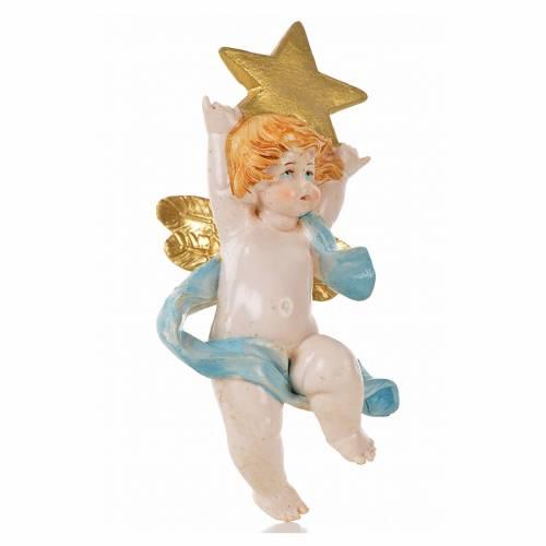 Angelo con stella blu Fontanini 7cm tipo porcellana s1