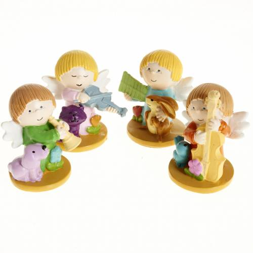 Angels in resin with animals and instruments, 4 pieces s1