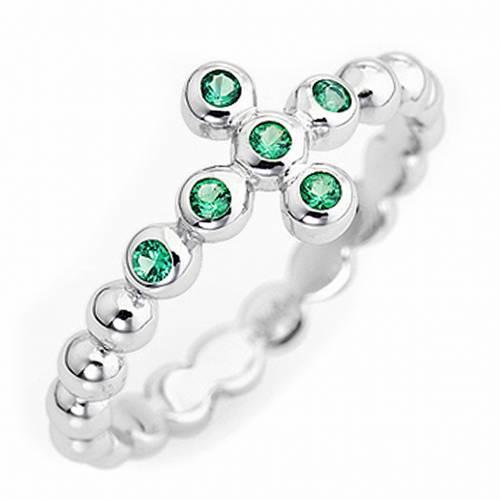 Anillo AMEN modelo Boules plata 925 con circones verdes s1