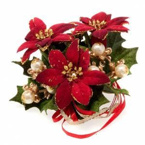 Anillo de la vela con nochebuena y bayas decoraciones navideñas s1