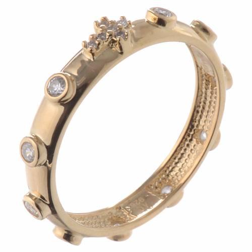 Anillo rosario AMEN dorado plata 925 circones blancos s1