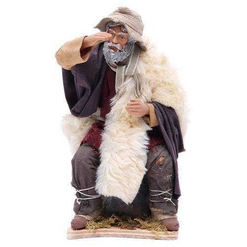 Animated Man looking in the distance figurine for Neapolitan Nativity, 24cm s1