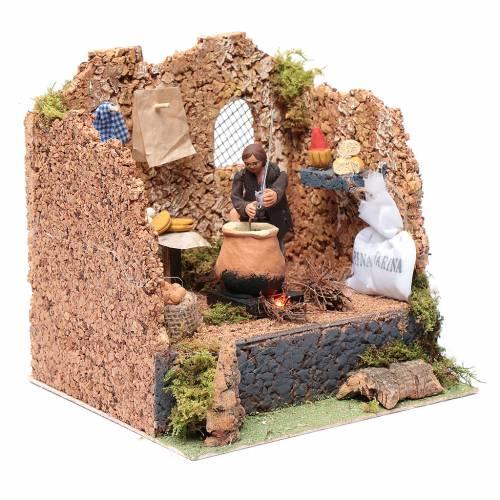 Animated man making polenta, 10cm Neapolitan Nativity s3