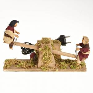 Neapolitan Nativity Scene: Animated Nativity scene figurines,  children on seesaw 14 cm