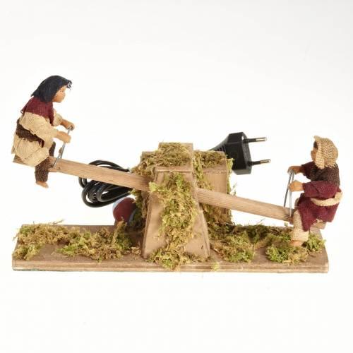 Animated Nativity scene figurines,  children on seesaw 14 cm s1